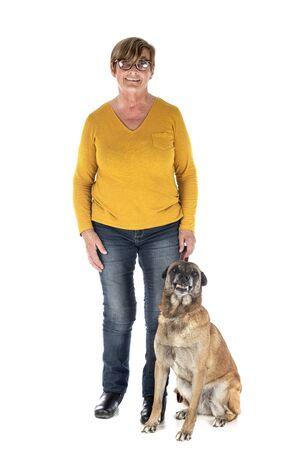 belgian shepherd and woman in front of white background 版權商用圖片