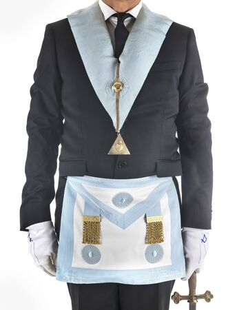 fremason with accessories in front of white background 免版税图像 - 134946009