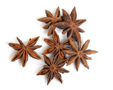 star anise in front of white background Stockfoto