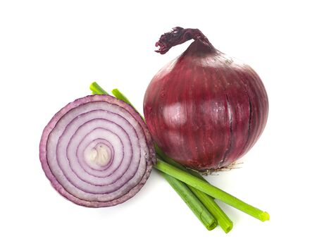 red onion in front of white background