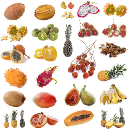 composite picture of exotic fruits in front of white background
