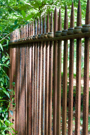 Abstract view of an old 18th century rusted iron fence in a woodland setting