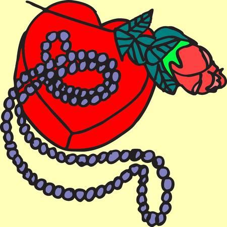 Dit is een illustratie van een hartendoos, met parels en een roos erbovenop. Stock Illustratie