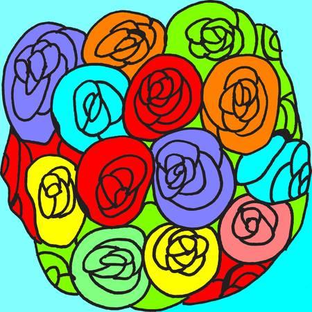 Dit is een illustratie van een bos rozen.
