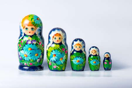 Green matryoshka isolated on white background Stock Photo