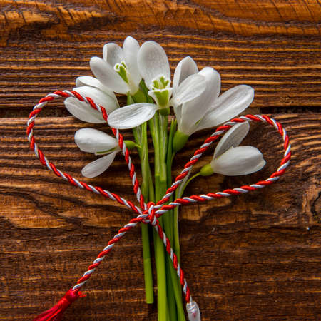 Snowdrops and red and white string martisor on wood with copy space east european first of march tradition celebration