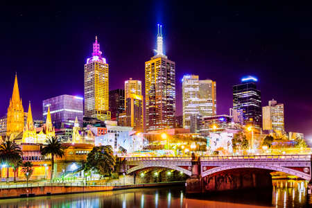 ngv: The worlds most liveable city with a view of Federation Square and Melbourne City as seen from South Bank at night with all the city lights