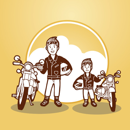Happy Father and Son Rider Stand and Holding Bike Illustration Vector