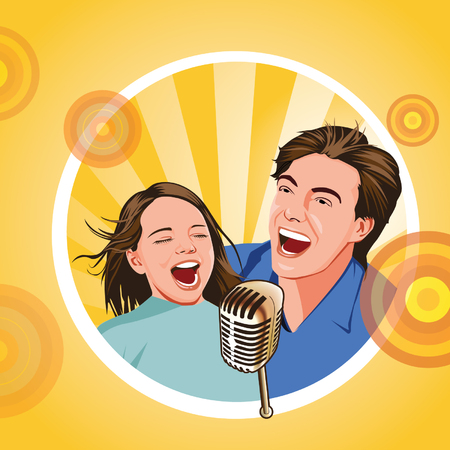 girl open mouth: Happy Father and Daughter Sing Karaoke Together Illustration