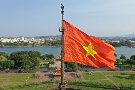 Vietnamese Flag in Imperial City of Hue Stock Photo