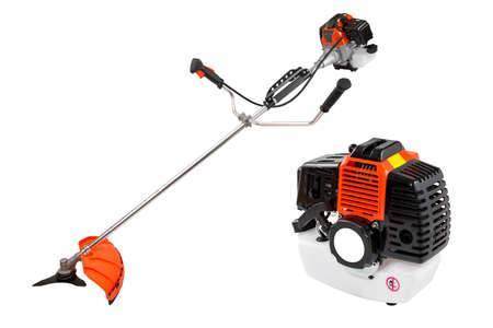 brush cutter isolated on the white background Фото со стока