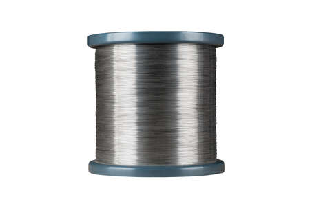 Silver wire roll isolated on the white background
