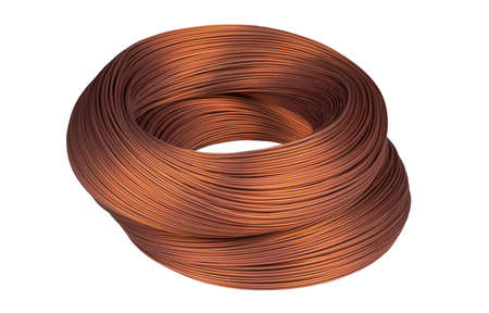 Copper wire isolated on the white background