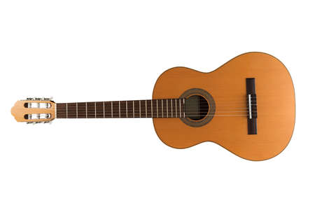 Spanish classic guitar isolated on the white background