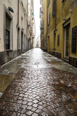 cobbled street in Turin