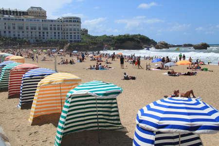 Biarritz beach umbrellas Stock Photo