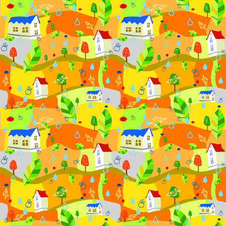 Seamless background  colorful autumn  pattern Vettoriali