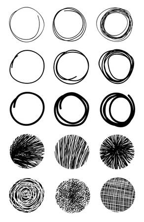 Hand Drawn Scribble Circles.Design elements Eps 10