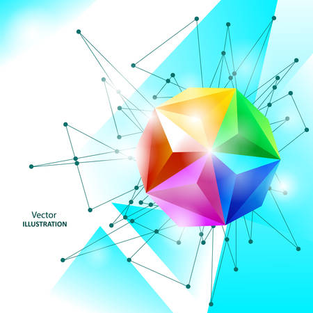 Abstract background with spectrum geometric sphere.