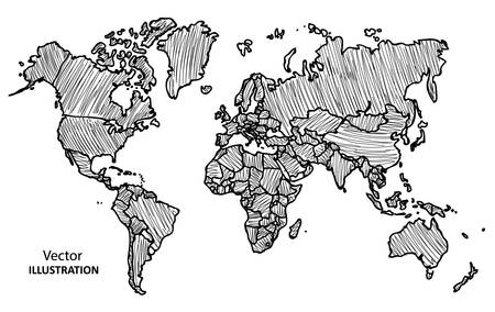 Hand drawing World Map with countries, Vector Illustration Vettoriali