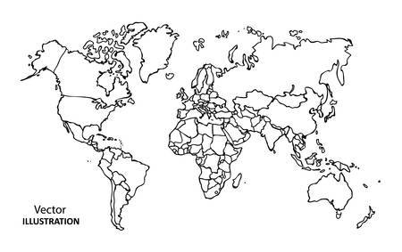 world map countries: Hand drawing World Map with countries, Vector Illustration Illustration