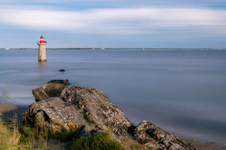 France - Loire Atlantique - August 2020 - View of the lighthouse of Villès-Martin in long exposure
