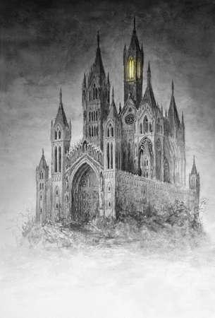 마법의 고딕 양식의 성채의 원래 수채화 그림. 스톡 콘텐츠