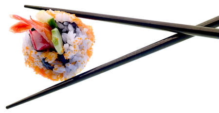 Sushi and chopsticks isolated on white.  Super clean white background-- professionally isolated with clean edges and no grey.  Carefully spotted and retouched.