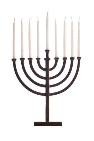 Beautiful unlit hanukkah menorah isolated on white.