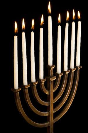 Beautiful lit hanukkah menorah.