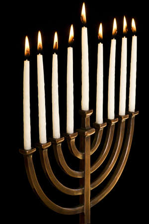 Beautiful lit hanukkah menorah.