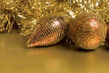 Christmas Ornaments with Glitter Background.  Carefully spotted and retouched.