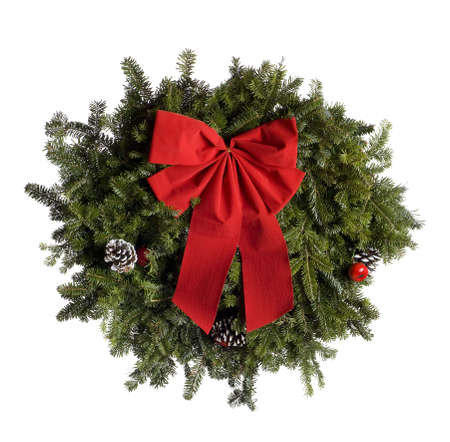 Christmas wreath isolated on white.  Professionally spotted and retouched.  Clean background- no grey!