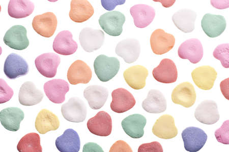 Valentines Day Candy Hearts Isolated on White Background photo