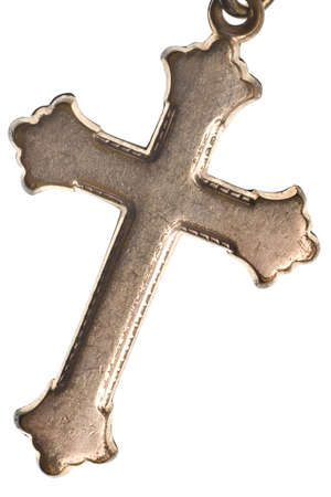silver jewelry: Antique Irish Cross isolated on white background