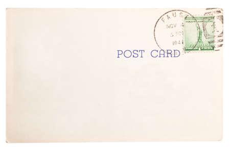 Vintage yellowed postcard with postmark stamp photo