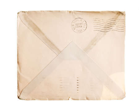 yellowed: Vintage yellowed envelope with postmark stamp Stock Photo