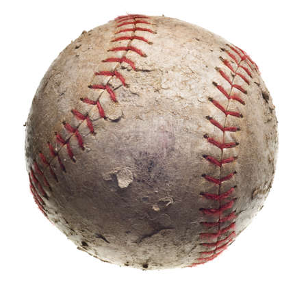 torn:  with red stitching baseball isolated on white background