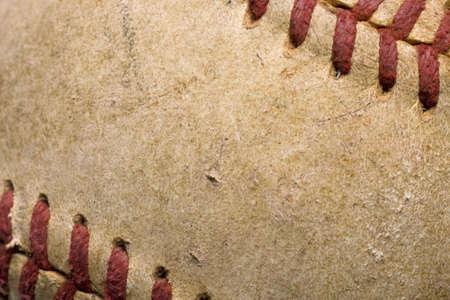 softball with red stitching baseball isolated on white background photo