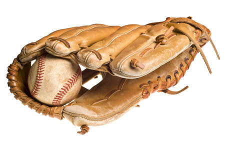 old baseball in leather mitt or glove