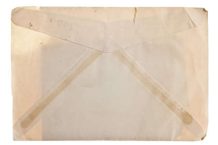 yellowed: Vintage yellowed envelope isolated on white