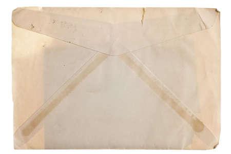 old envelope: Vintage yellowed envelope isolated on white