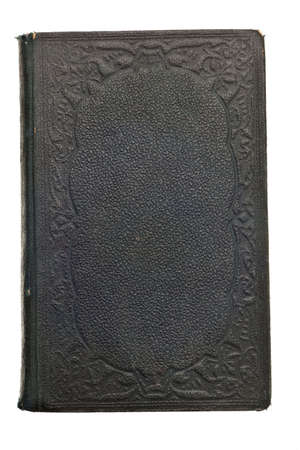 black leather texture: Antique book from the 1800s isolated on white background