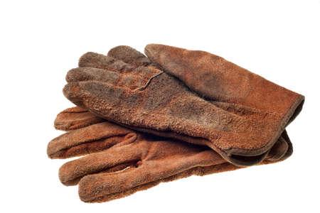Grungy vieux gants de travail isolés sur fond blanc Banque d'images - 4388705