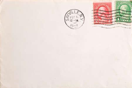 old envelope: Vintage yellowed envelope with postmark stamp Stock Photo