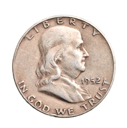 Antik Silber Half-dollar isoliert auf wei�em Hintergrund