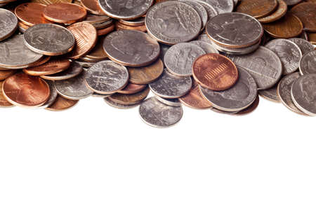 pennies: pennies, nickles, dimes, and quarters macro background