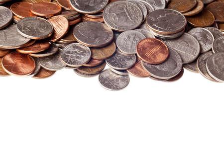 Pennies, Nickles, Dimes, Viertel-und Makro-Hintergrund