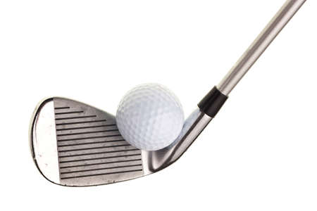 Golf Club und Ball isoliert auf wei�em Hintergrund Lizenzfreie Bilder