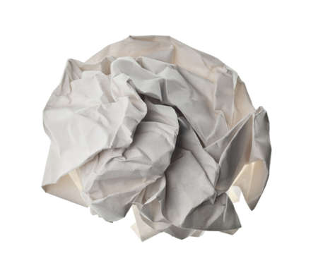 zerknittertes Papier Ball isoliert auf einem weißen backgroun Standard-Bild